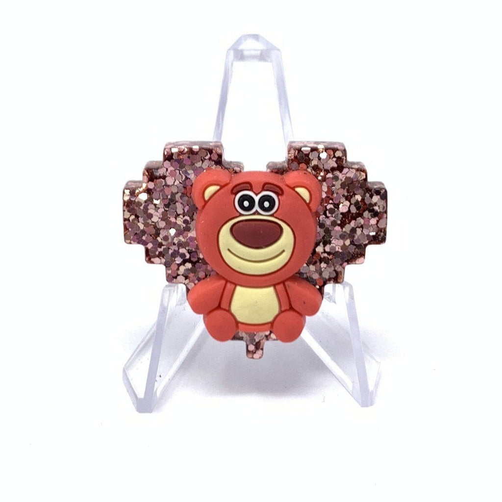 Resin Pin - Rose Gold Glitter Lotso Pixel Heart
