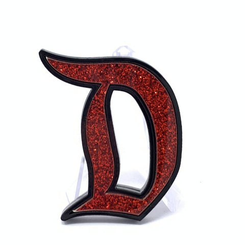 Outline D Acrylic Brooch - Black with Red Glitter | Acrylic Pins Artistic FlavorzArtistic Flavorz