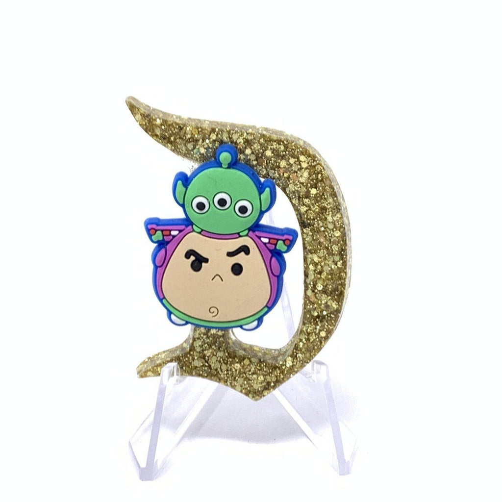 Resin D Pin - Gold Glitter with Buzz/Alien