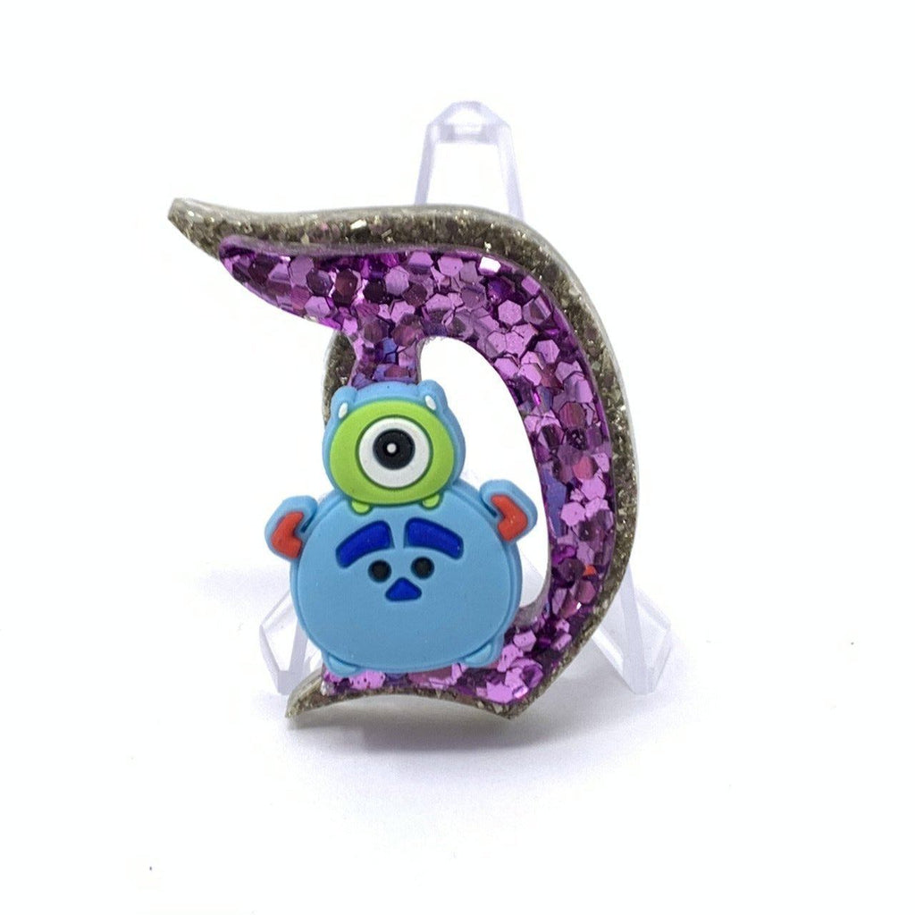 Resin D Pin - Dbl Layer Silver and Purple Mike and Sulley