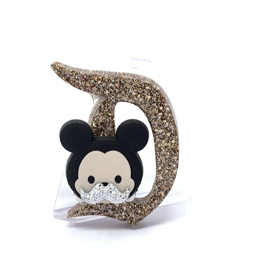Resin D Pin - Champagne Gold Mouse with Mustache