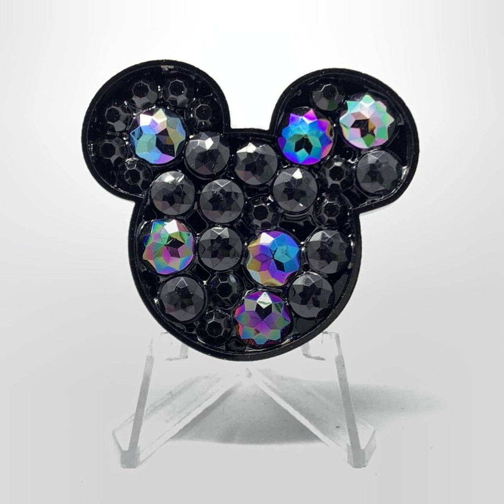 Mouse Acrylic Brooch - Black Stones