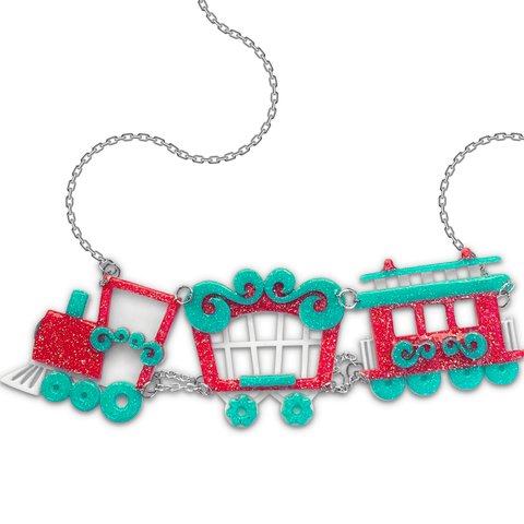 Circus Train Pastel Embellished Statement Necklace