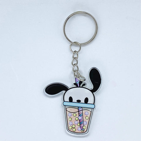 Cute Dog Boba Acrylic Keychain