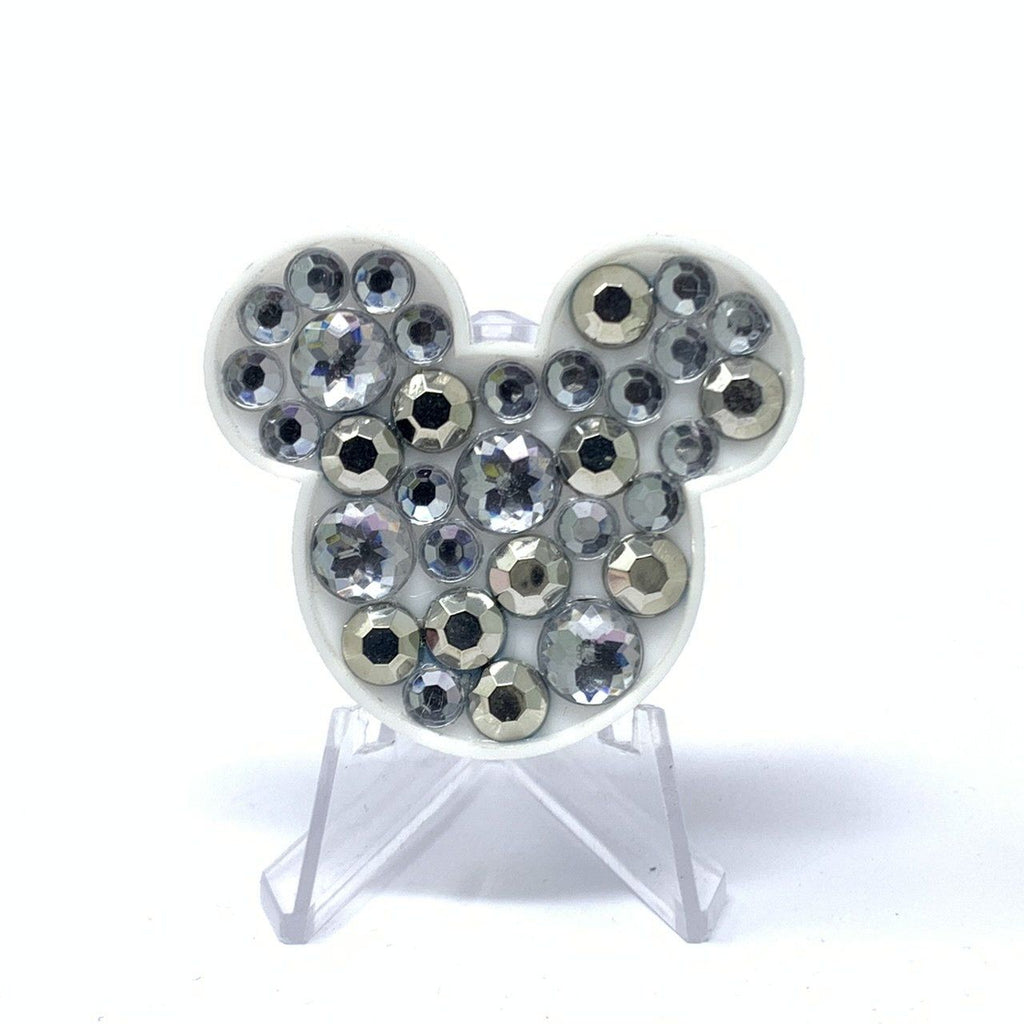 Mouse Acrylic Brooch - Silver Stones