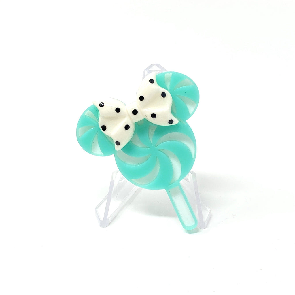 Holiday Flavorz Acrylic Brooch - Mouse Peppermint Lollipop
