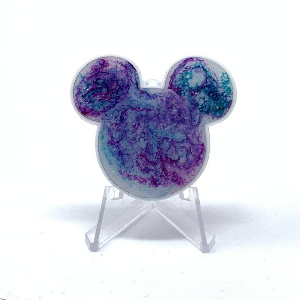 Mouse Acrylic/Resin Brooch - Purple Blue and White Ink Galaxy