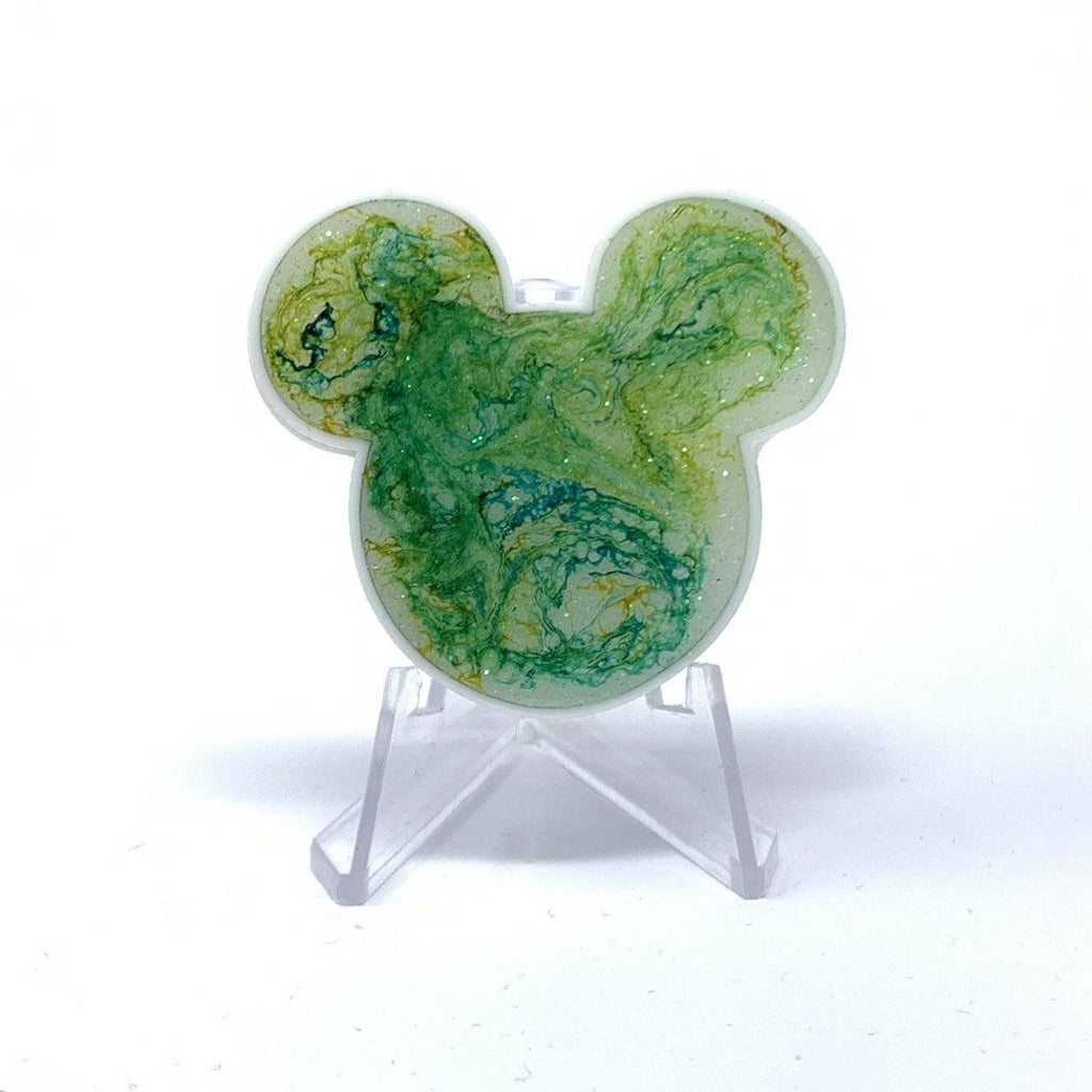 Mouse Acrylic/Resin Brooch - Green Ink Galaxy Swirl