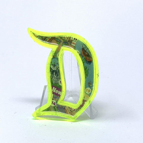 Outline D Acrylic Brooch - Fluorescent Green New Orleans Square Map | Acrylic Pins Artistic FlavorzSuperfluous Designs