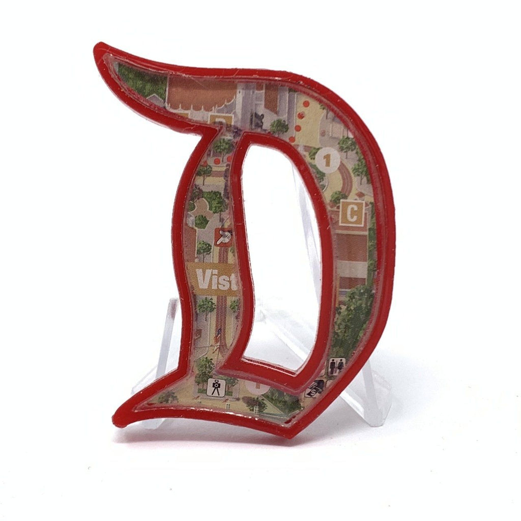 Outline D Acrylic Brooch - Red Buena Vista Street Map