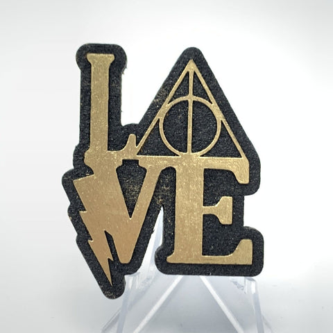 Deathly Hallows Love (Wood Pin) - Black/Gold Foil