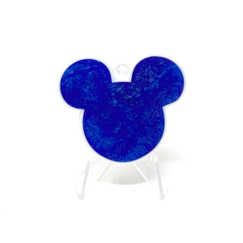 Mouse Acrylic/Resin Brooch - Blue Sparkle Swirl