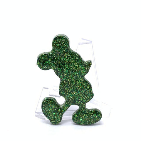 Resin Pin - Green and Gold Glitter Silhouette