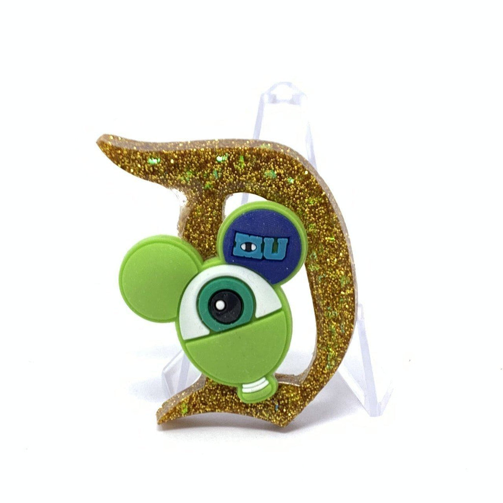 Resin D Pin - Gold Glitter with Mike Wasowski Balloon