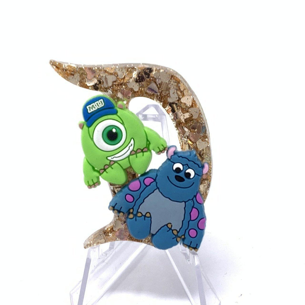 Resin D Pin - Gold Hearts Glitter Mike and Sulley