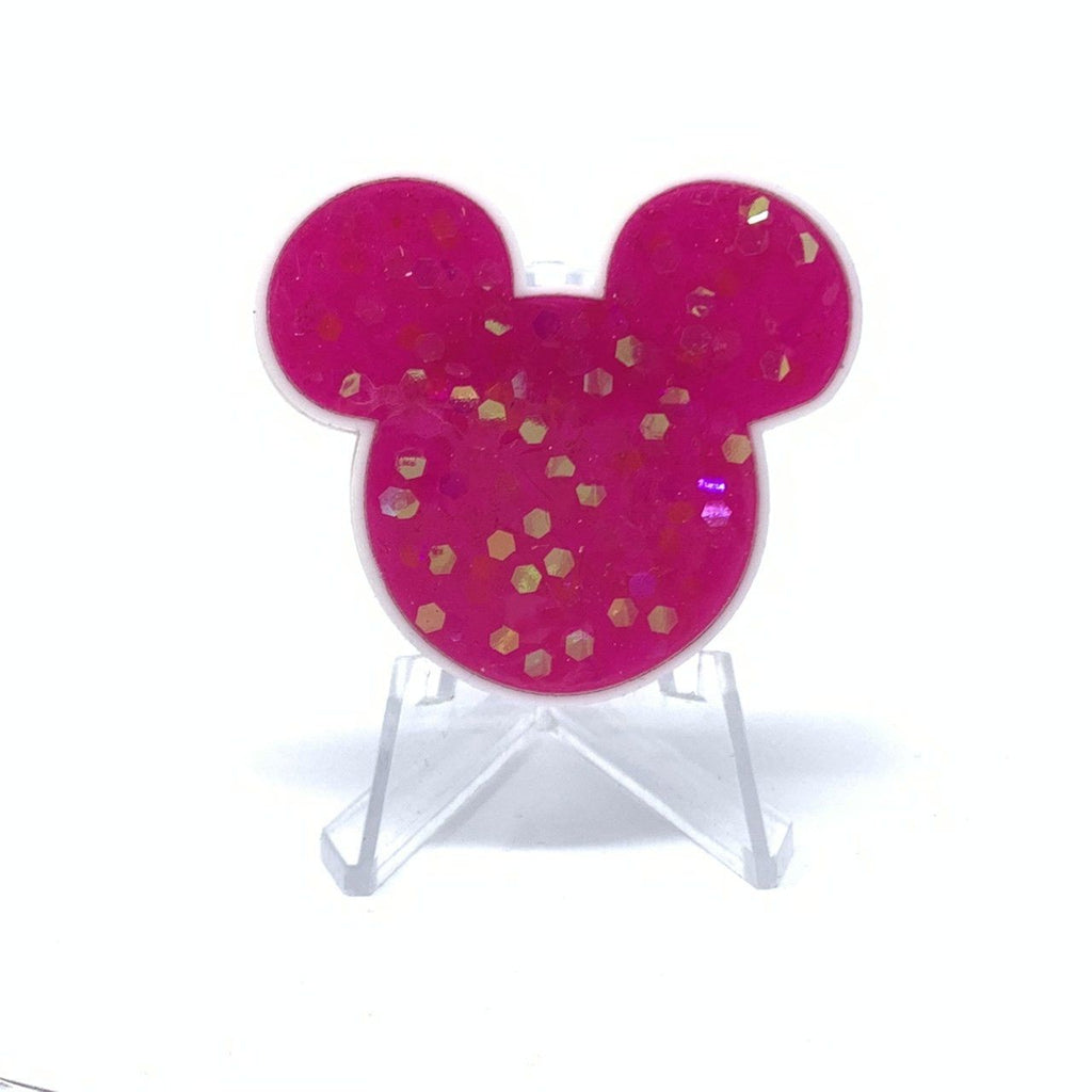 Mouse Acrylic/Resin Brooch - Hot Pink Chunky Glitter