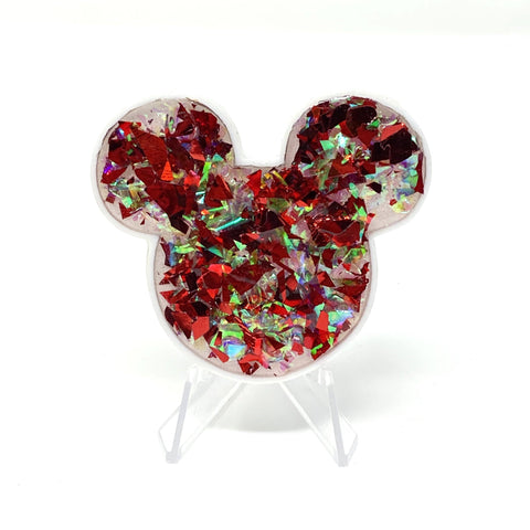 Large Mouse Acrylic/Resin Brooch - Red / Iridescent Flakes