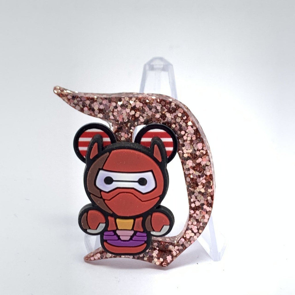 Resin D Pin - Rose Gold Glitter Baymax in Battle Suit with Mouse Ears