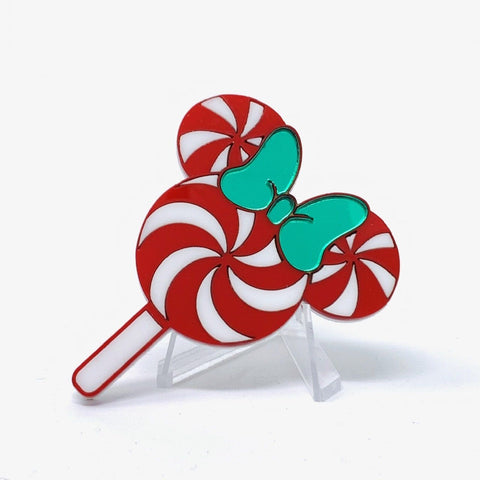 Holiday Flavorz Acrylic Brooch - Large Mouse Peppermint Lollipop