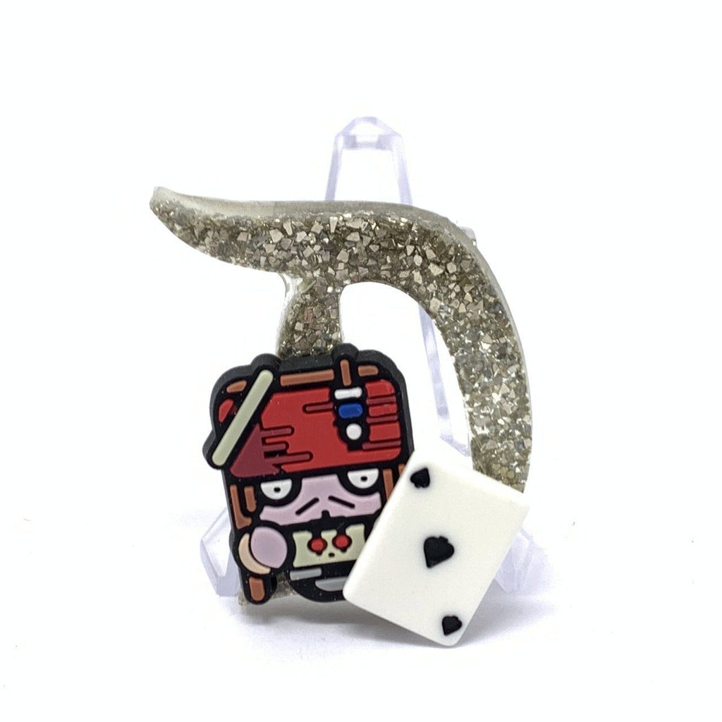 Resin D Pin - Silver Shards Jack with Playing Card