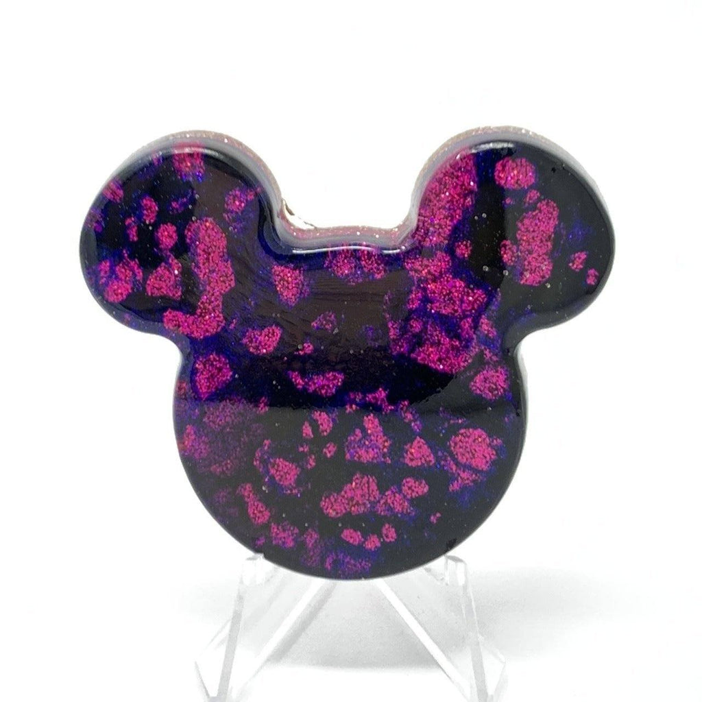 Mouse Head Resin Pin - Ink with Pink Glitter