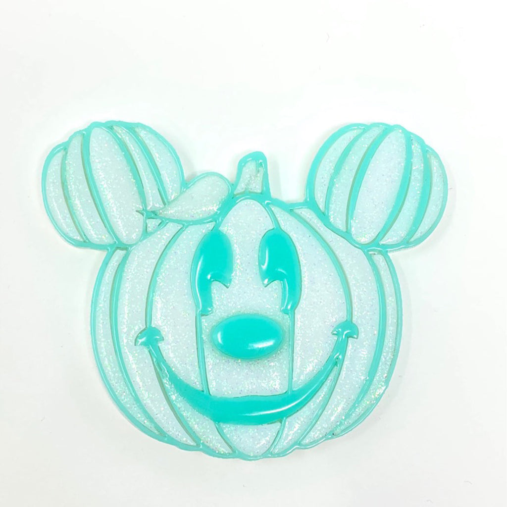 Pumpkin Mouse Acrylic Brooch - White w/ Mint Outline