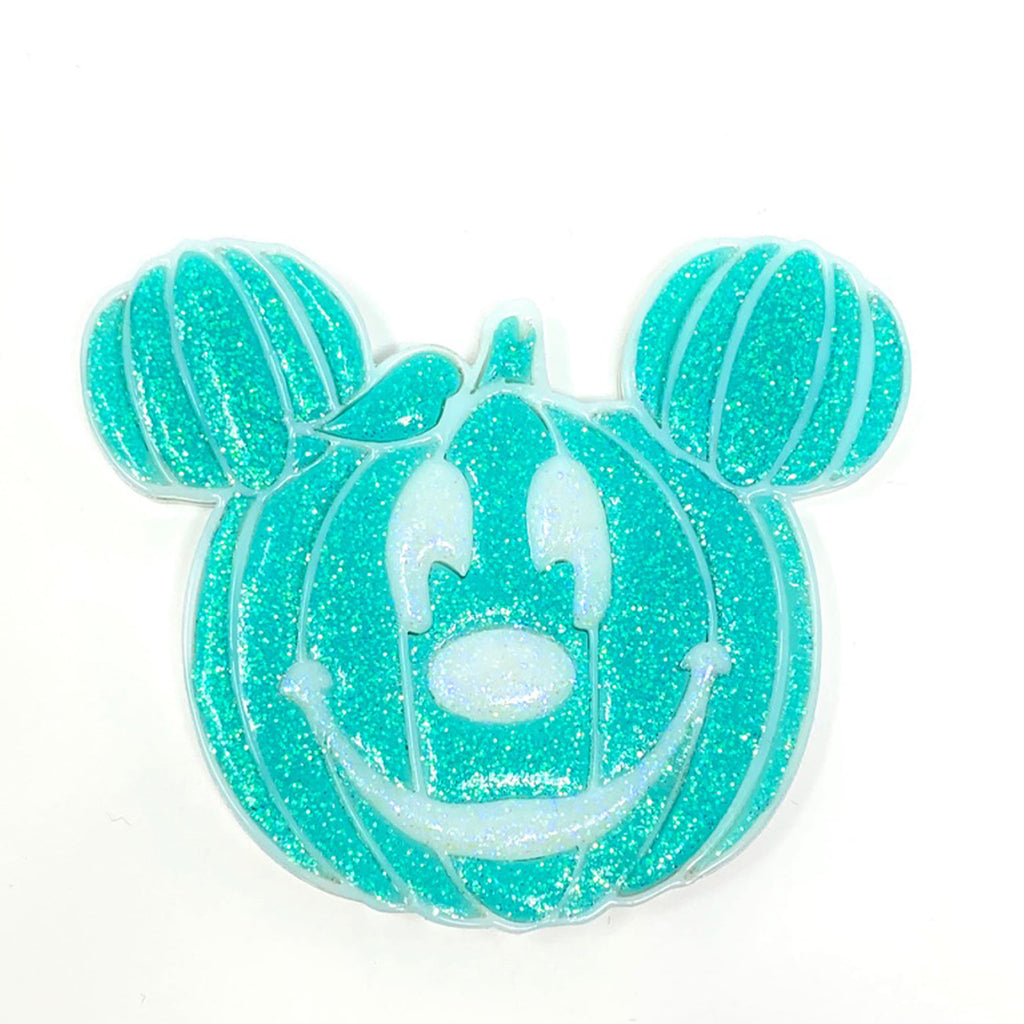 Pumpkin Mouse Acrylic Brooch - Mint w/ White Outline