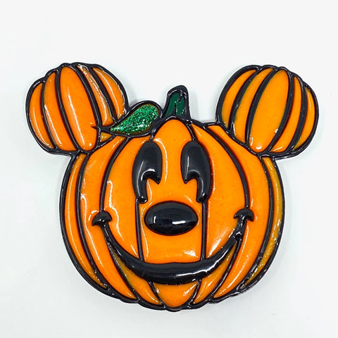 Pumpkin Mouse Acrylic Brooch - Orange w/ Black Outline (Glow)