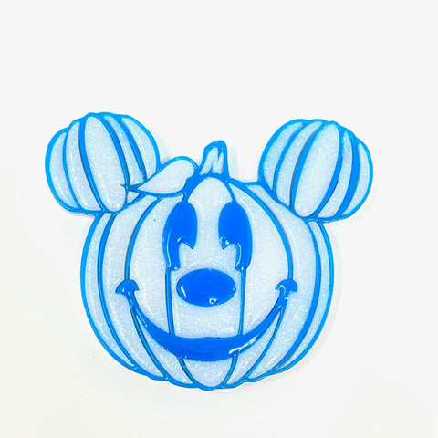 Pumpkin Mouse Acrylic Brooch - White w/ Blue Outline