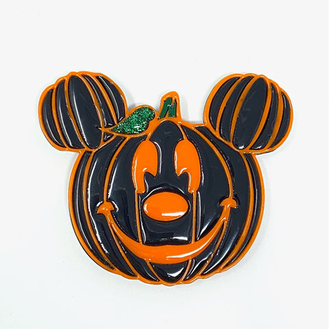 Pumpkin Mouse Acrylic Brooch - Black w/ Orange Outline (Non-Glow)