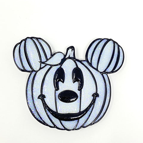 Pumpkin Mouse Acrylic Brooch - White w/ Black Outline