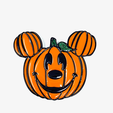 Pumpkin Mouse Acrylic Brooch - Orange w/ Black Outline (Non-Glow)