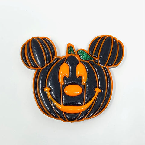 Pumpkin Mouse Acrylic Brooch - Black w/ Orange Outline (Glow Face)
