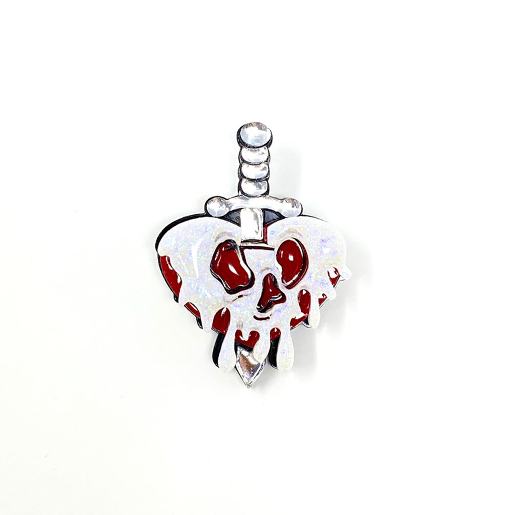 Poison Heart Apple Dagger Acrylic Brooch - Original Death