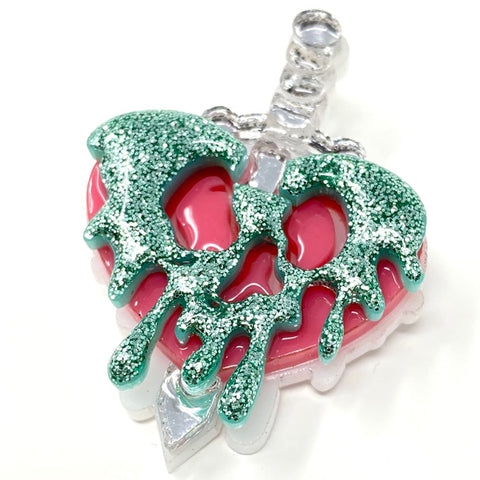 Evil Queen Poison Heart Apple Dagger Acrylic Brooch - Pastel Poison