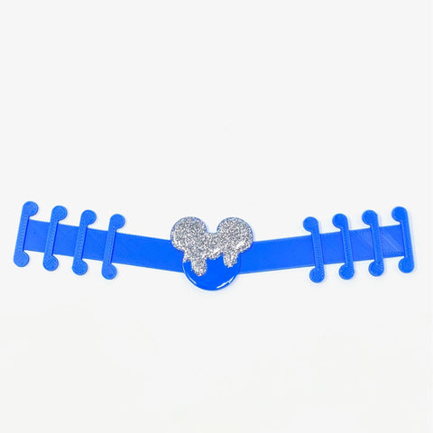 Embellished Mouse Ear Saver - Blue/Silver Glitter Drip