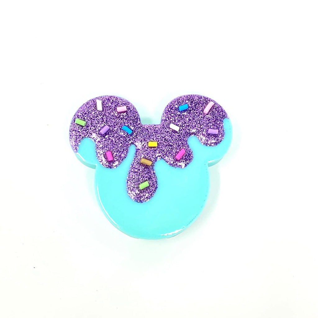 Embellished Mouse Badge Reel Cover - Mint/Purple Glitter Drip with Sprinkles