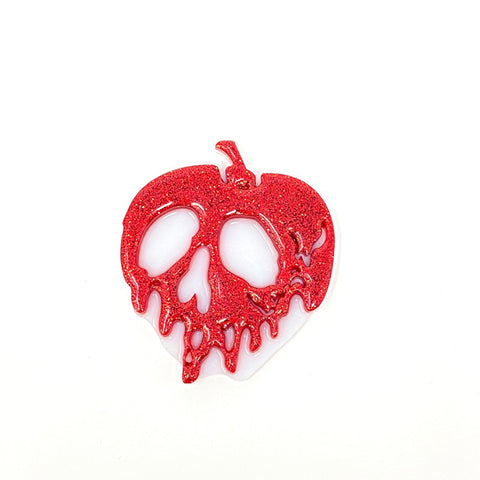 Glitter Acrylic Poison Apple - Red/White (Medium)