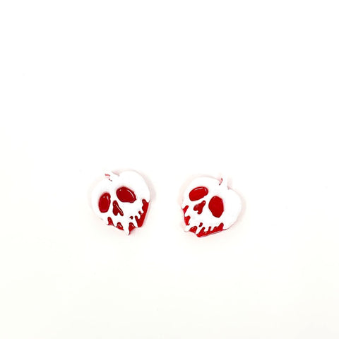 Glitter Acrylic Poison Apple Stud Earrings - White/Red (Small)