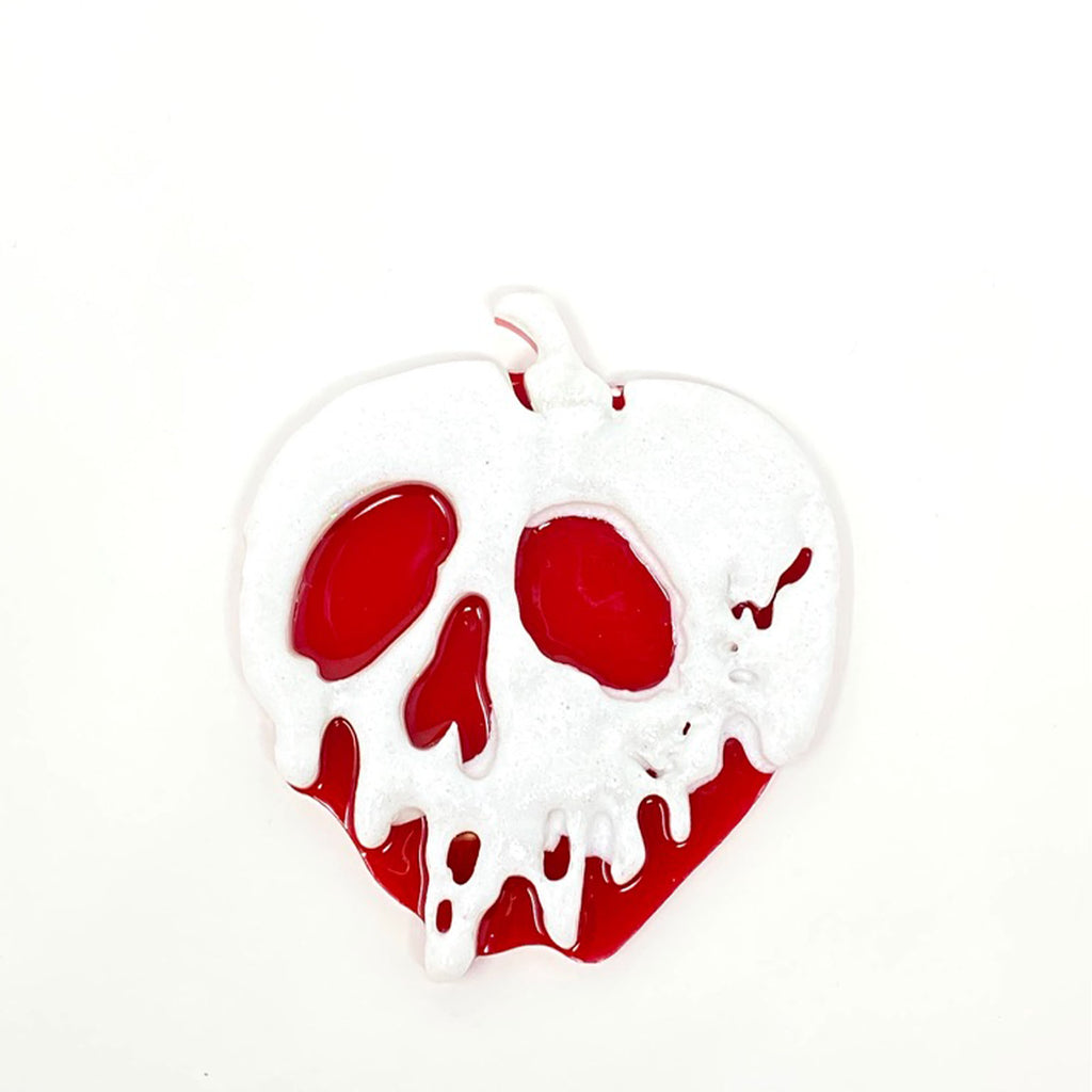 Glitter Acrylic Poison Apple - White/Red (Large)