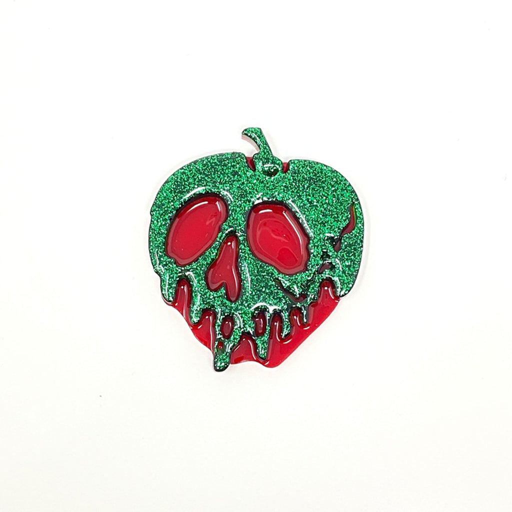 Glitter Acrylic Poison Apple - Green/Red (Medium)
