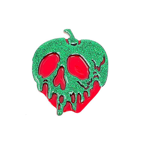 Glitter Acrylic Poison Apple - Green/Red (Large)