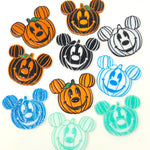 Pumpkin Mouse Acrylic Brooch - Black w/ White Outline