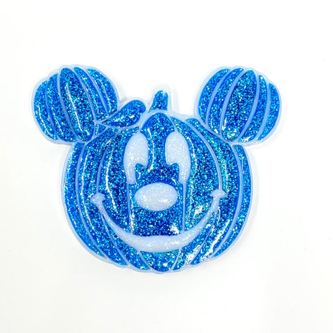 Pumpkin Mouse Acrylic Brooch - Blue w/ White Outline