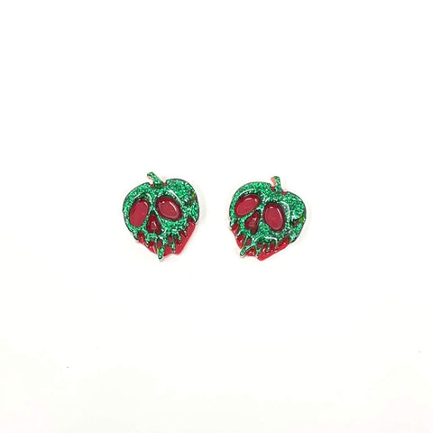 Glitter Acrylic Poison Apple Stud Earrings - Green/Red (Small)