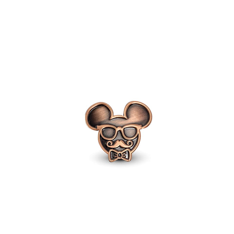 Oh So Fancy Metal Mouse Enamel Pin - Ant. Copper