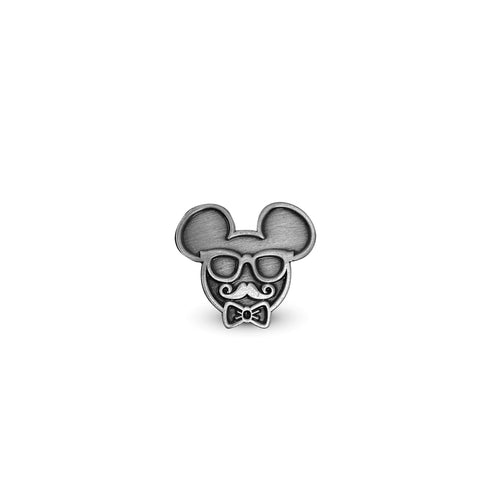 Oh So Fancy Metal Mouse Enamel Pin - Ant. Silver