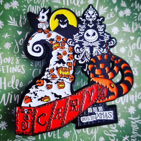Haunted Holiday D Enamel Pin