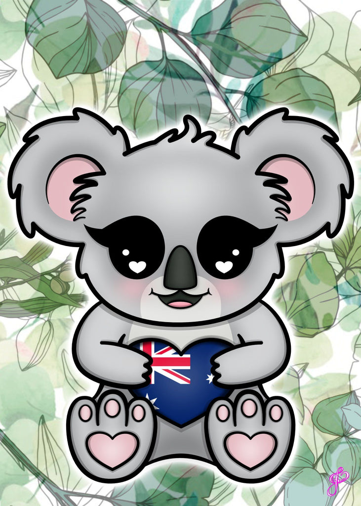 Koala Aussie Love - 5x7 Art Print by Jo2