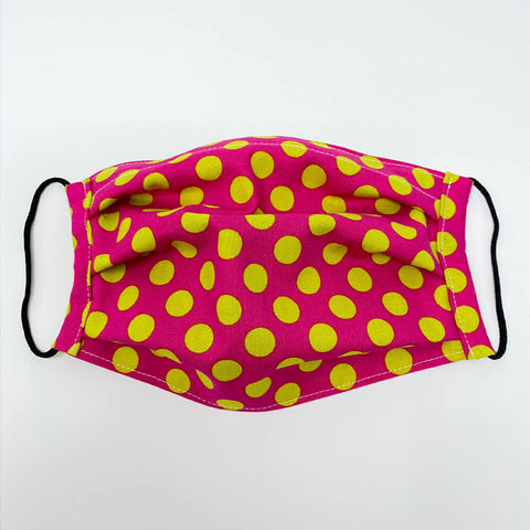 Face Mask - Pink with Lime Green Dot